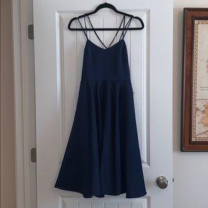 Lulus Navy Satin Dress
